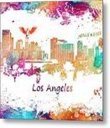 Los Angeles California Skyline Colored Metal Print