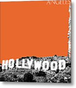 Los Angeles Skyline Hollywood - Coral Metal Print