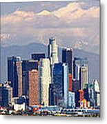 Los Angeles Skyline With Mountains In Background Metal Print