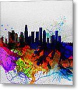 Los Angeles  Watercolor Skyline 2 Metal Print