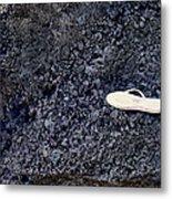 Lost Flip Flop On Lava Rock Metal Print