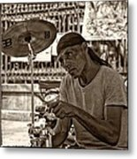 Lost In The Beat Sepia Metal Print