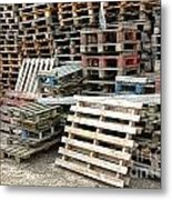 Lots Of Pallets Metal Print by Olivier Le Queinec