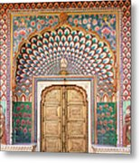Lotus Gate In Jaipur City Palace Metal Print