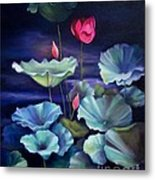 Lotus On Dark Water Metal Print