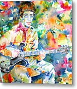 Lou Reed Playing The Guitar - Watercolor Portrait Metal Print