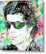 Lou Reed Watercolor Portrait.2 Metal Print