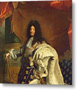 Louis Xiv In Royal Costume, 1701 Oil On Canvas Detail Of 59867 Metal Print