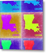 Louisiana Pop Art Map 2 Metal Print