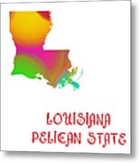 Louisiana State Map Collection 2 Metal Print