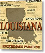 Louisiana State Pride Map Silhouette  Metal Print