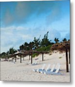 Lounge Chairs And Parasol On Pink Sands Metal Print