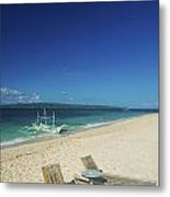 Lounge Chairs And Traditional Boat On Puka Beach In Boracay Phil Metal Print
