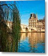 Louvre Museum And Pont Royal - Paris - France Metal Print