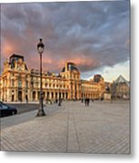 Louvre Museum At Sunset Metal Print