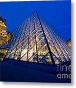 Louvre Pyramid At Dusk Metal Print