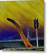 Love At Cupid's Span San Francisco Bay Bridge Metal Print