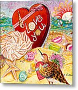 Love At The Beach Metal Print