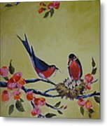 Love Birds Nesting Metal Print by Kelley Smith