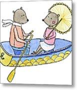 Love Boat Watercolor Illustration Metal Print