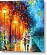 Love By The Lake - Palette Knife Oil Painting On Canvas By Leonid Afremov Metal Print