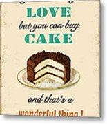 Love Cake Typography Metal Print