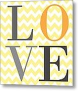 Love Chevron Yellow Metal Print