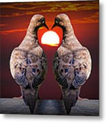 Love Dove Birds At Sunset Metal Print