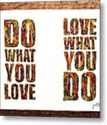 Love In Life Acrylic Palette Knife Painting Metal Print
