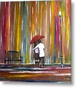 Love In The Rain Metal Print