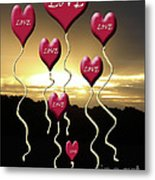 Love Is In The Air Golden Silhouette Metal Print
