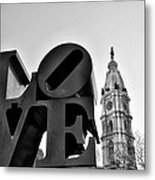 Love Is Just Black And White Metal Print
