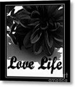 Love Life Black And White Metal Print