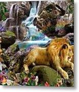 Love Lion Waterfall Metal Print