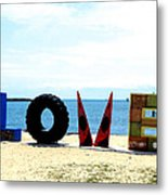 Love On The Beach Found Art Outer Banks Metal Print