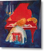 Love On The Red Piano Metal Print by Eve Riser Roberts