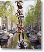 Love Padlocks In Amsterdam Metal Print
