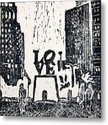 Love Park In Black And White Metal Print by Marita McVeigh