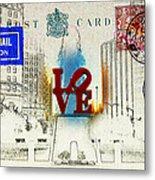 Love Park Post Card Metal Print
