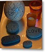 Love Relax Pray Stone Still Life Metal Print