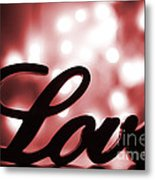 Love Sign With Red Sparkle Metal Print