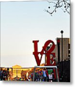 Love Statue And The Art Museum Metal Print