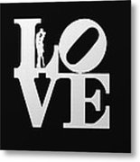Love Typography And Kissing Couple Metal Print