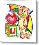 Love You Teddy Bear Metal Print