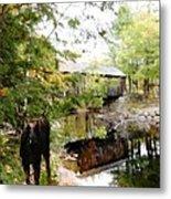 Lovejoy Covered Bridge And Moose Metal Print