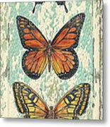 Lovely Butterfly Trio On Tin Tile Metal Print