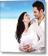 Lovely Couple On The Beach Metal Print