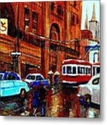 Lovers In The Rain Stroll St Catherine Street Near Morgans Department Store Vintage City Scene Art Metal Print