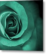 Love's Eternal Teal Green Rose Metal Print