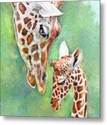 Loving Mother Giraffe2 Metal Print